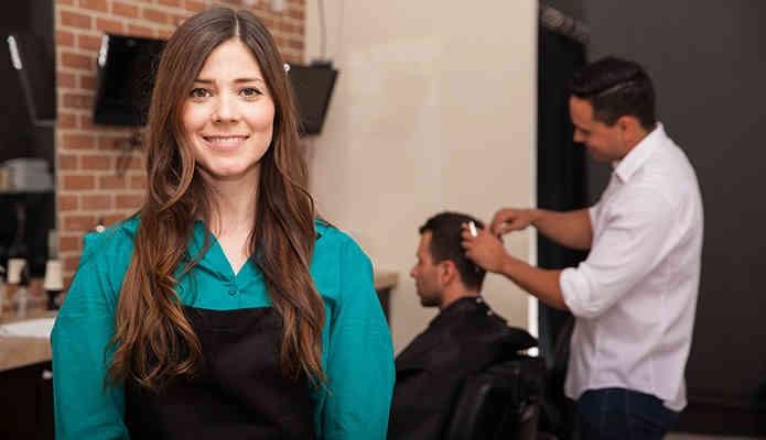 Female barber shop owner